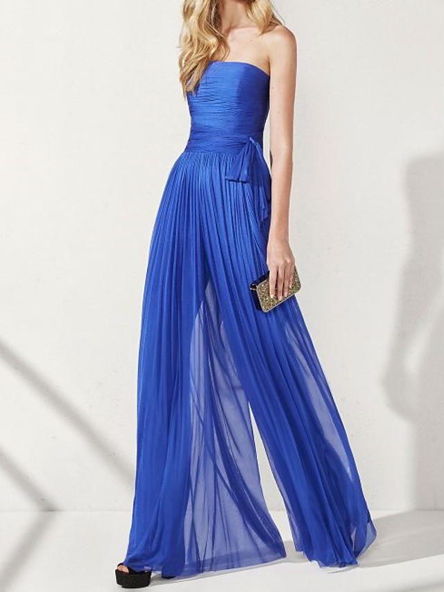 Jumpsuits Elegant Blue Wedding Guest Formal Evening Dress Strapless Sleeveless Floor Length Chiffon with Ruched Pearls Draping 2020