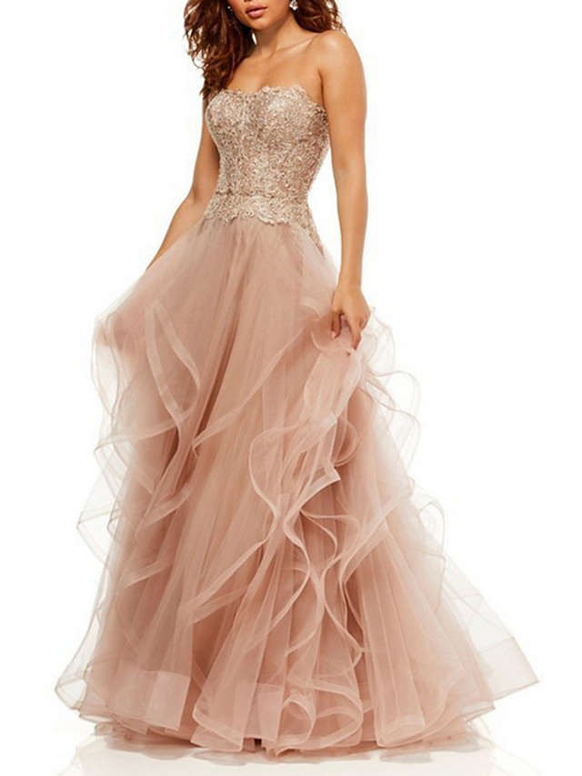 A-Line Luxurious Pink Prom Formal Evening Dress Sweetheart Neckline Sleeveless Floor Length Tulle with Sequin Ruffles Tier 2020
