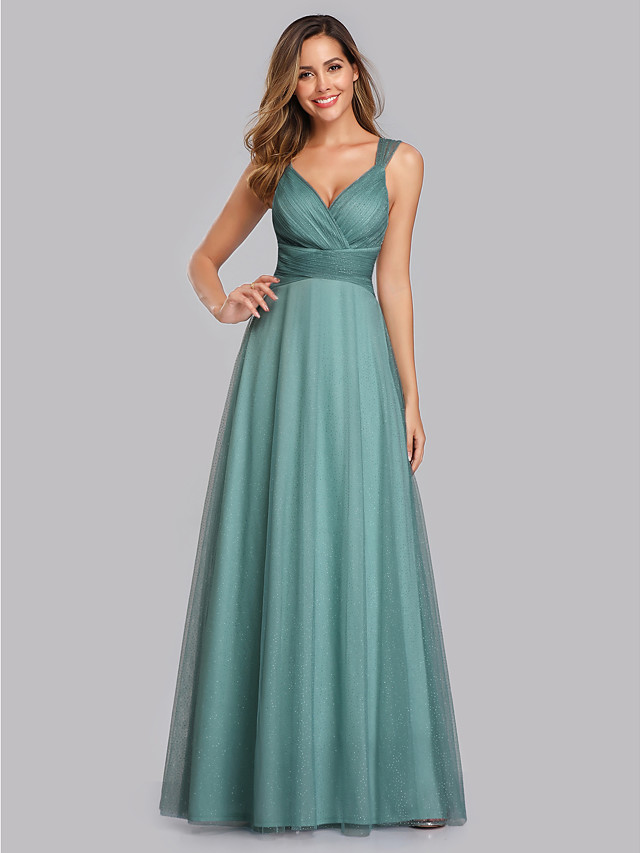 A-Line Elegant Empire Prom Formal Evening Dress V Neck Sleeveless Floor Length Chiffon Tulle with Pleats Sequin 2020