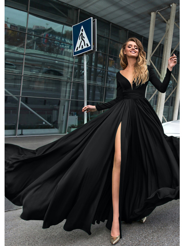 A-Line Empire Minimalist Holiday Formal Evening Dress V Neck Long Sleeve Floor Length Chiffon with Split Front 2020