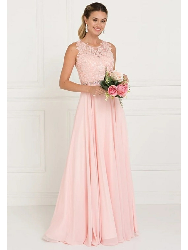 A-Line Jewel Neck Sweep / Brush Train Tulle Bridesmaid Dress with Lace / Sash / Ribbon