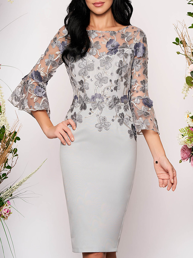 Women's Bodycon Knee Length Dress - 3/4 Length Sleeve Floral Solid Color Lace Elegant Cocktail Party Going out Gray M L XL XXL XXXL