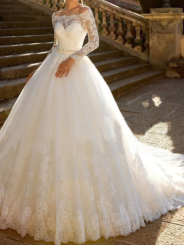Ball Gown Wedding Dresses Off Shoulder Chapel Train Lace Tulle Lace Over Satin Long Sleeve Glamorous Sparkle & Shine Illusion Sleeve with Sashes / Ribbons Crystals Appliques 2020 / Bell Sleeve