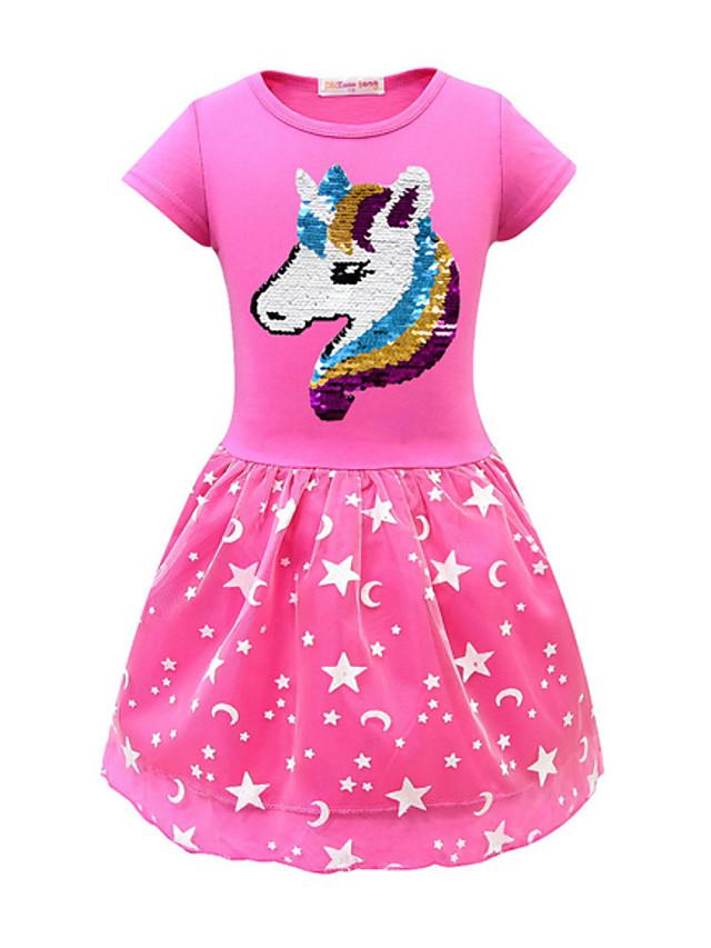 Kids Girls' Active Unicorn Geometric Print Short Sleeve Midi Dress Purple
