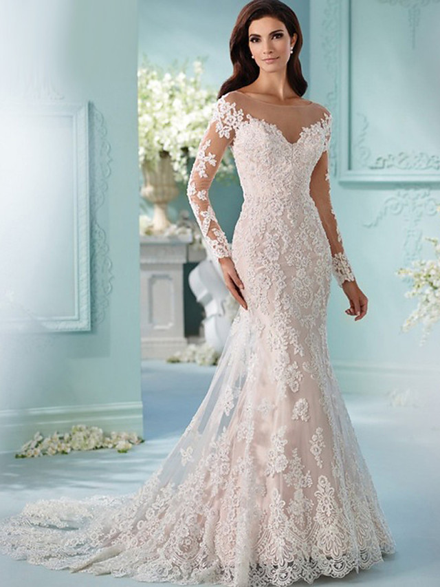 Mermaid Trumpet Wedding Dresses Scoop Neck Chapel Train Lace Tulle Lace Over Satin Long Sleeve Formal Sexy Beautiful Back Illusion Sleeve With Appliques 2020 7706730 2020 206 99