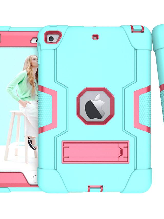 Case For Apple iPad Mini 3/2/1 / iPad Mini 4 / iPad Mini 5 Shockproof / with Stand Back Cover Solid Colored TPU / PC