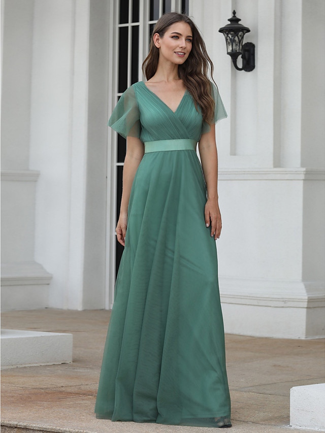 A-Line Empire Turquoise / Teal Wedding Guest Prom Dress V Neck Short Sleeve Floor Length Chiffon Tulle with Pleats Ruched 2020