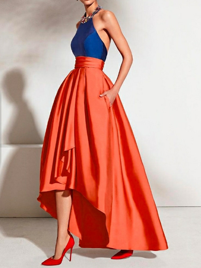 A-Line Color Block Blue Prom Formal Evening Dress Halter Neck Sleeveless Asymmetrical Satin with Pleats 2020