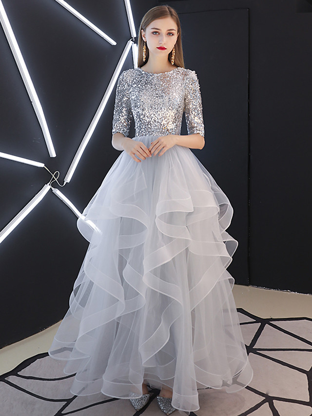 Ball Gown Sparkle Grey Prom Formal Evening Dress Jewel Neck Half Sleeve Floor Length Tulle Sequined with Sequin Tier 2020