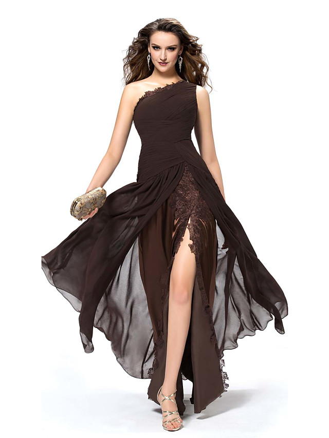 A-Line Elegant Sexy Party Wear Formal Evening Dress One Shoulder Sleeveless Floor Length Chiffon with Split Lace Insert 2020