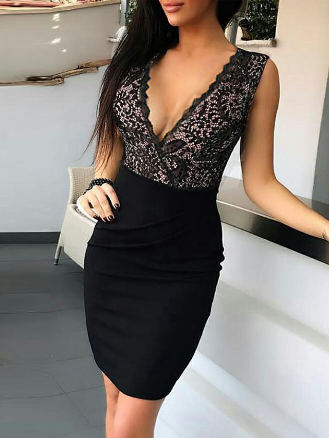 Women's Black Dress Sexy Cocktail Party Going out Bodycon Solid Color Paisley Deep V Lace Deep V S M