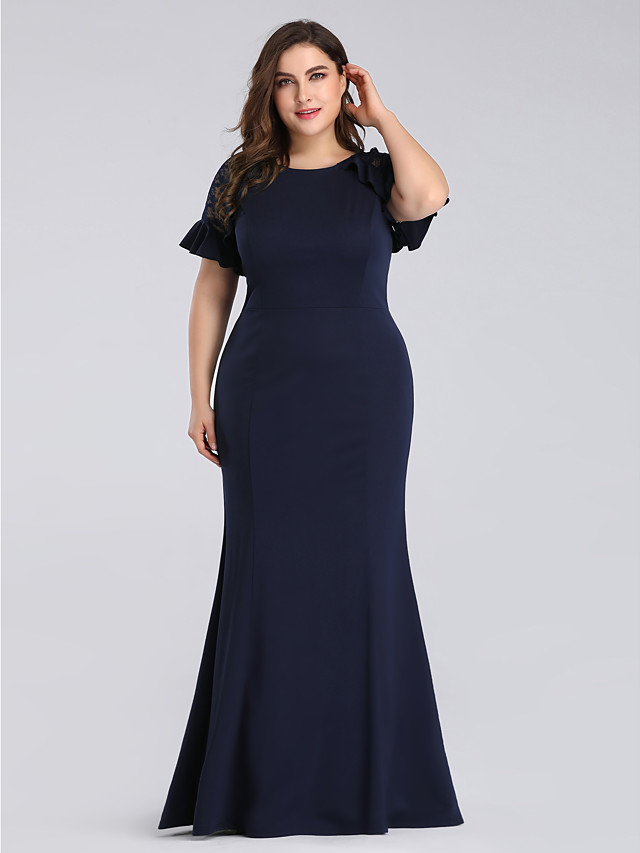 Mermaid / Trumpet Plus Size Blue Wedding Guest Formal Evening Dress Jewel Neck Short Sleeve Floor Length Lace Polyester with Ruffles Lace Insert 2020