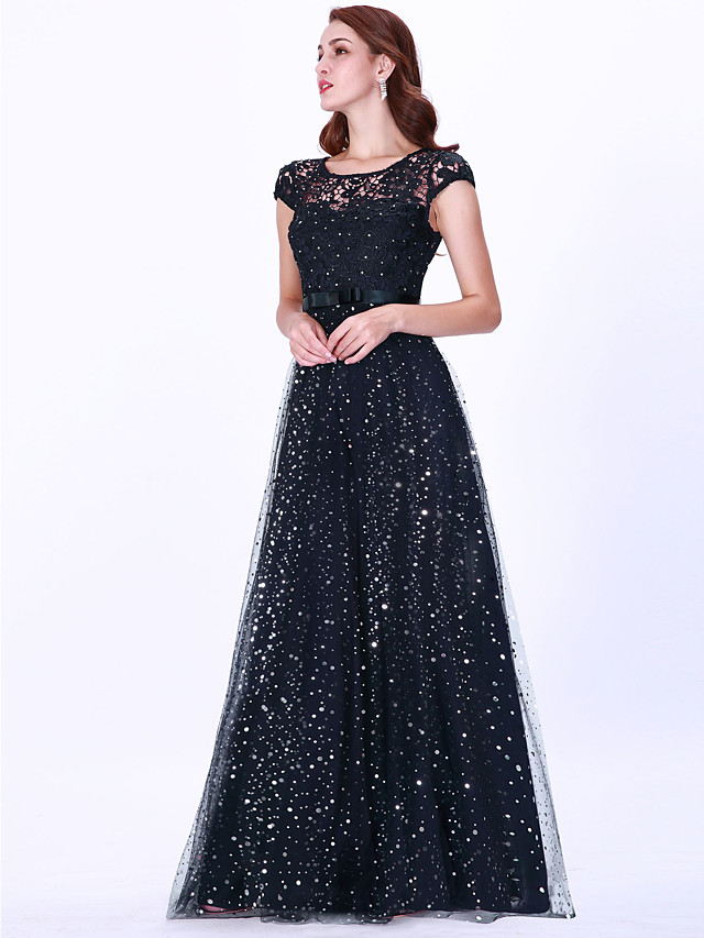 A-Line Sparkle Blue Party Wear Prom Dress Illusion Neck Sleeveless Floor Length Lace Tulle with Beading Sequin 2020