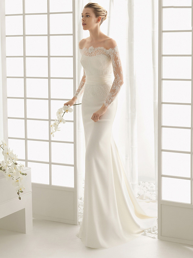 Mermaid / Trumpet Wedding Dresses Off Shoulder Chapel Train Stretch Satin Long Sleeve Romantic Illusion Sleeve with 2020 / Bell Sleeve