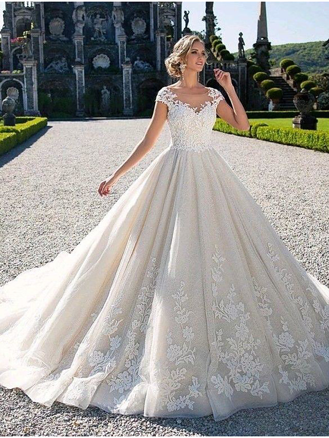 Ball Gown Wedding Dresses Jewel Neck Chapel Train Lace Tulle Lace Over Satin Cap Sleeve Glamorous Illusion Detail with Appliques 2021