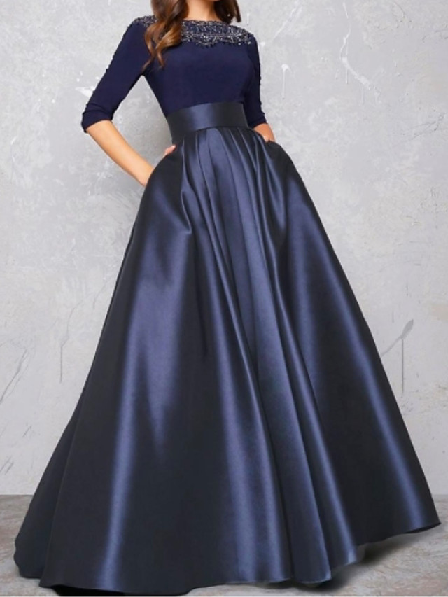 Ball Gown Minimalist Blue Quinceanera Formal Evening Dress Illusion Neck Half Sleeve Floor Length Satin with Pleats Lace Insert 2020