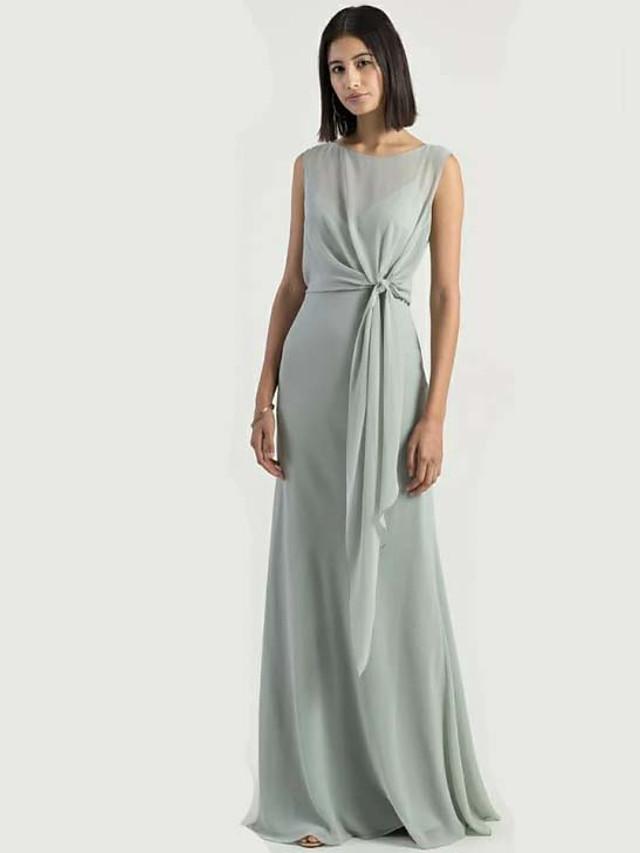 Sheath / Column Jewel Neck Floor Length Chiffon Bridesmaid Dress with