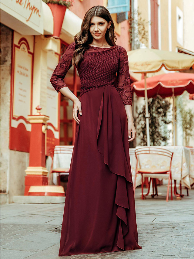 A-Line Elegant Empire Prom Formal Evening Dress Jewel Neck 3/4 Length Sleeve Floor Length Chiffon Lace with Draping Lace Insert 2020