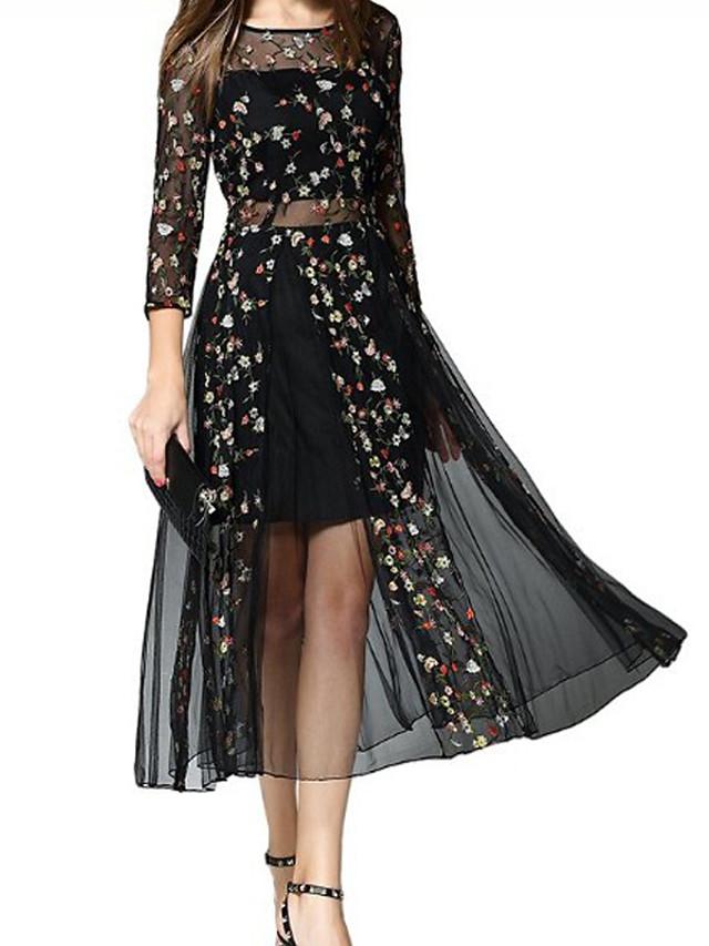 Women's Swing Dress - Long Sleeve Geometric Casual / Daily Black S M L XL XXL XXXL XXXXL