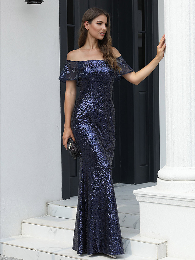 Mermaid / Trumpet Open Back Formal Evening Dress Off Shoulder Short Sleeve Floor Length Tulle Sequined with 2020