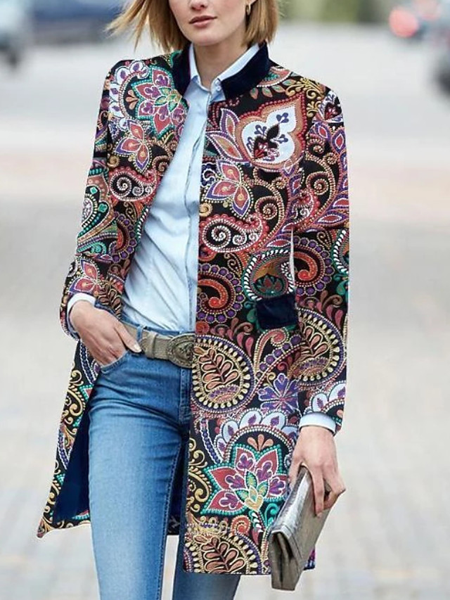 Women's Trench Coat Geometric Print Basic Winter Long Daily Long Sleeve Faux Suede Coat Tops Red