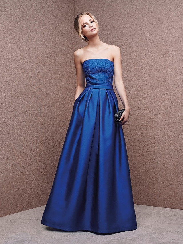 A-Line Strapless Floor Length Polyester / Lace Elegant / Minimalist Formal Evening Dress with Appliques 2020