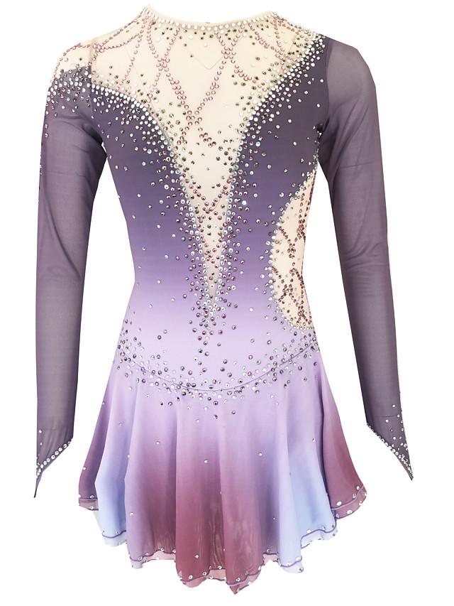 21Grams Figure Skating Dress Women's Girls' Ice Skating Dress Purple Light Purple Royal Blue Open Back Spandex Stretch Yarn High Elasticity Training Skating Wear Solid Colored Classic Crystal