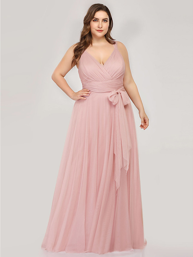 A-Line V Neck Floor Length Tulle Bridesmaid Dress with Bow(s) / Ruching / Bandage / Open Back
