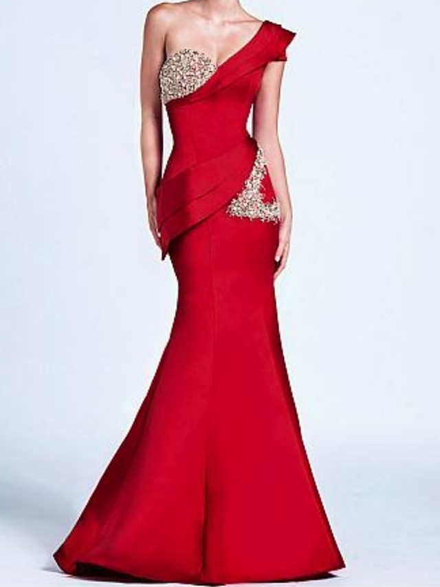 Mermaid / Trumpet Sparkle Red Wedding Guest Formal Evening Dress One Shoulder Sleeveless Floor Length Satin with Crystals Ruffles 2020