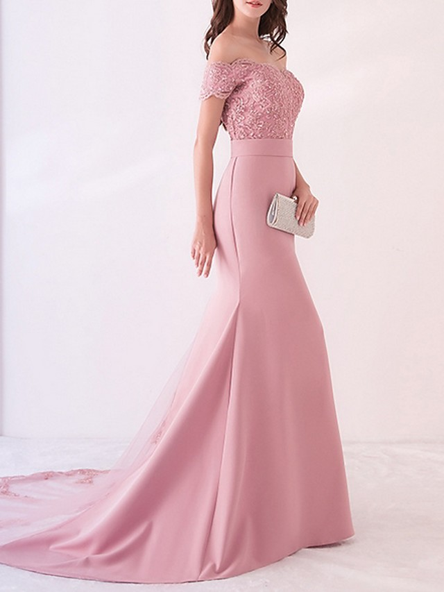 Mermaid / Trumpet Beautiful Back Pink Engagement Formal Evening Dress Off Shoulder Short Sleeve Court Train Polyester with Pattern / Print Appliques 2020