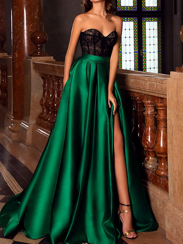 A-Line Green Black Engagement Formal Evening Dress Sweetheart Neckline Sleeveless Court Train Lace Satin with Split Lace Insert 2020