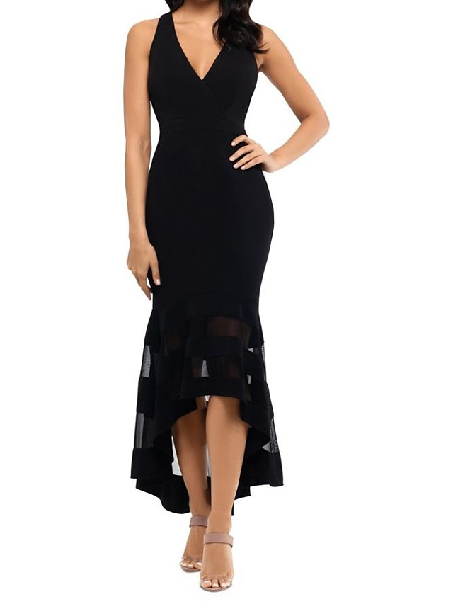 Mermaid / Trumpet See Through Holiday Cocktail Party Dress V Neck Sleeveless Asymmetrical Tulle Jersey with Ruffles 2021