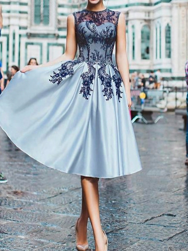 A-Line Floral Blue Cocktail Party Prom Dress Illusion Neck Sleeveless Knee Length Lace Satin with Appliques 2020