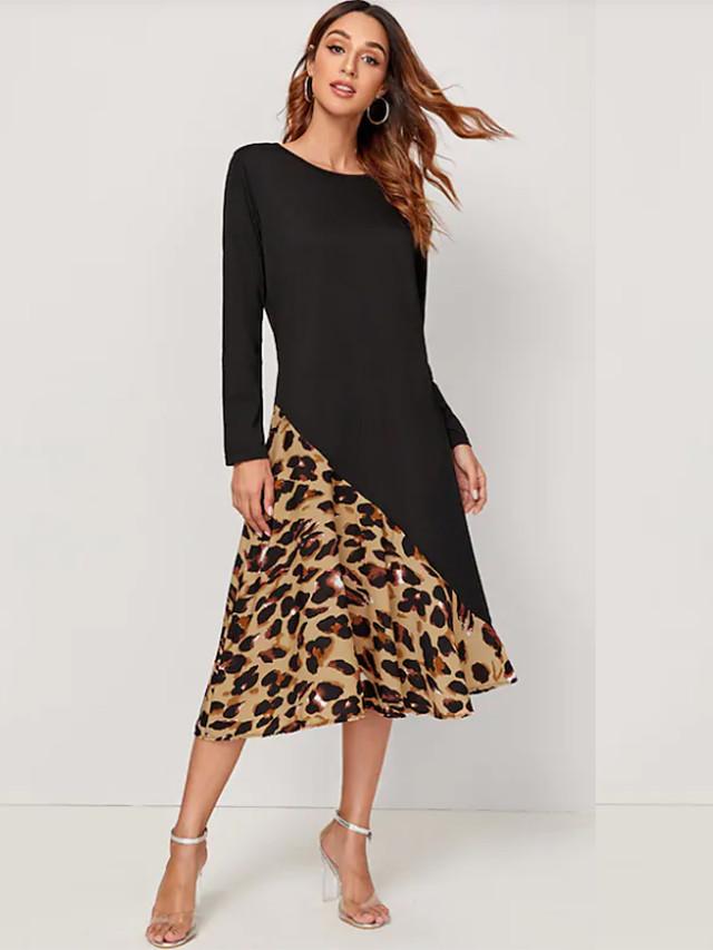 Women's Black Dress Street chic Date Street A Line Leopard Patchwork Print S M