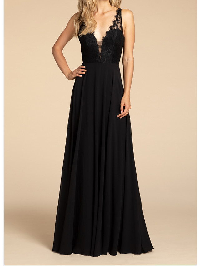A-Line Plunging Neck Floor Length Chiffon Bridesmaid Dress with Ruching
