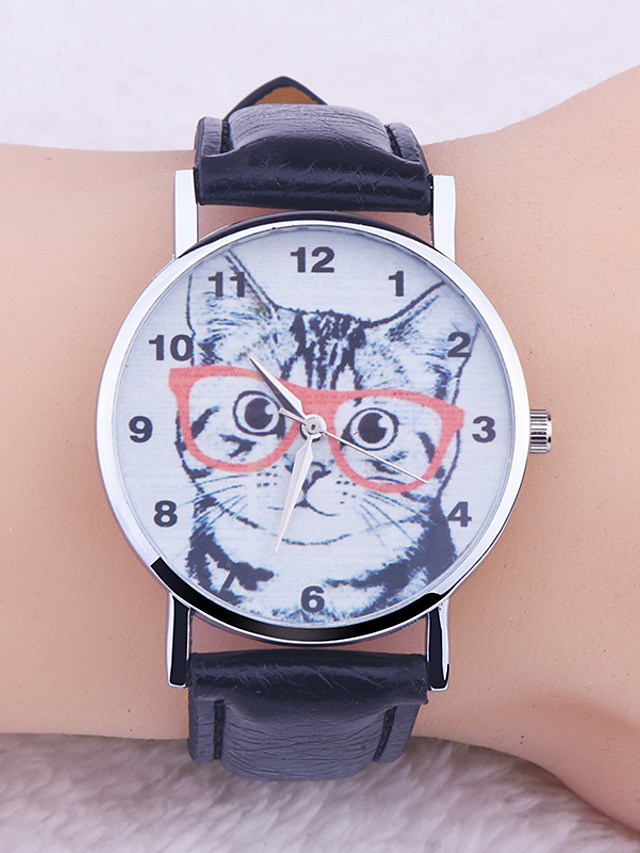Women's Quartz Watches Quartz Animal Pattern Fashion Casual Watch PU Leather Black / Pink Analog - Black Blushing Pink One Year Battery Life / Stainless Steel