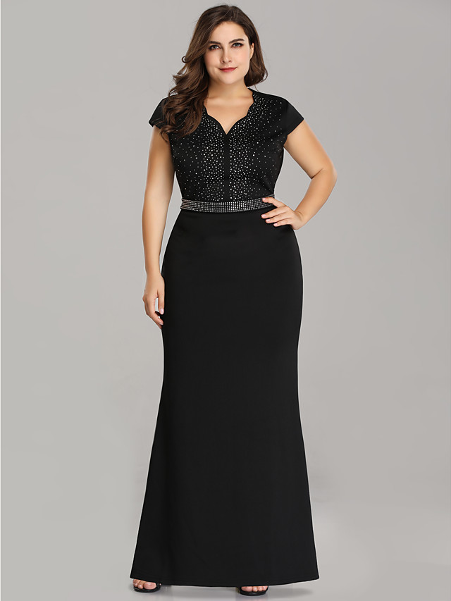 Mermaid / Trumpet Plus Size Black Wedding Guest Formal Evening Dress Scalloped Neckline Short Sleeve Floor Length Polyester with Beading Sequin 2020