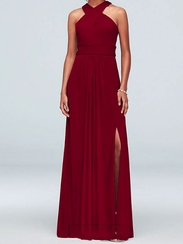 A-Line Halter Neck Floor Length Chiffon Bridesmaid Dress with Split Front / Ruching