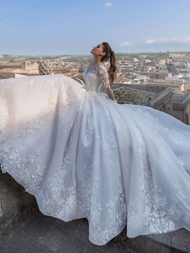 Ball Gown V Neck Chapel Train Lace / Tulle / Lace Over Satin Long Sleeve Glamorous Sparkle & Shine / Illusion Sleeve Wedding Dresses with Appliques 2020 / Bell Sleeve