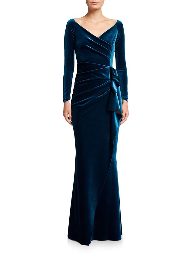 Mermaid / Trumpet Elegant Formal Evening Dress V Neck Long Sleeve Floor Length Velvet with Draping 2020