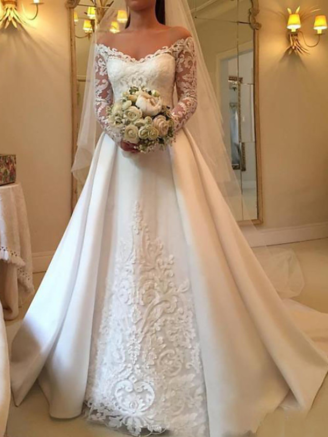 A-Line Wedding Dresses Off Shoulder Sweep / Brush Train Satin Long Sleeve Illusion Sleeve with Lace Insert 2021