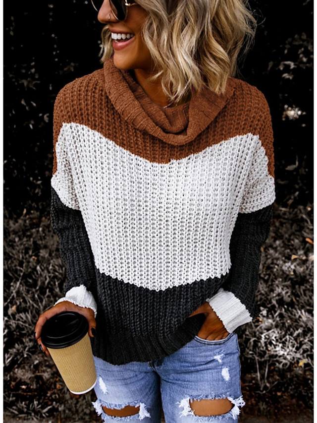 Women's Striped Pullover Long Sleeve Sweater Cardigans Turtleneck Light Brown Army Green Brown
