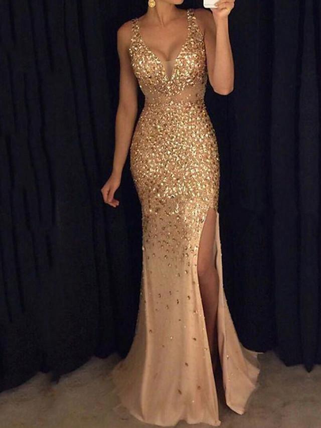 Women's Flapper Dress Maxi long Dress - Sleeveless Solid Color Sequins Split Glitter Deep V Elegant Sexy Cocktail Party Prom Birthday Pink Gold S M L XL XXL