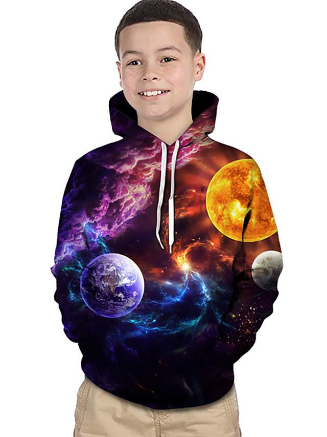 Djeca Dijete koje je tek prohodalo Dječaci Aktivan Osnovni Magične kocke Galaksija 3D Print Dugih rukava Trenirka s kapuljačom Duga