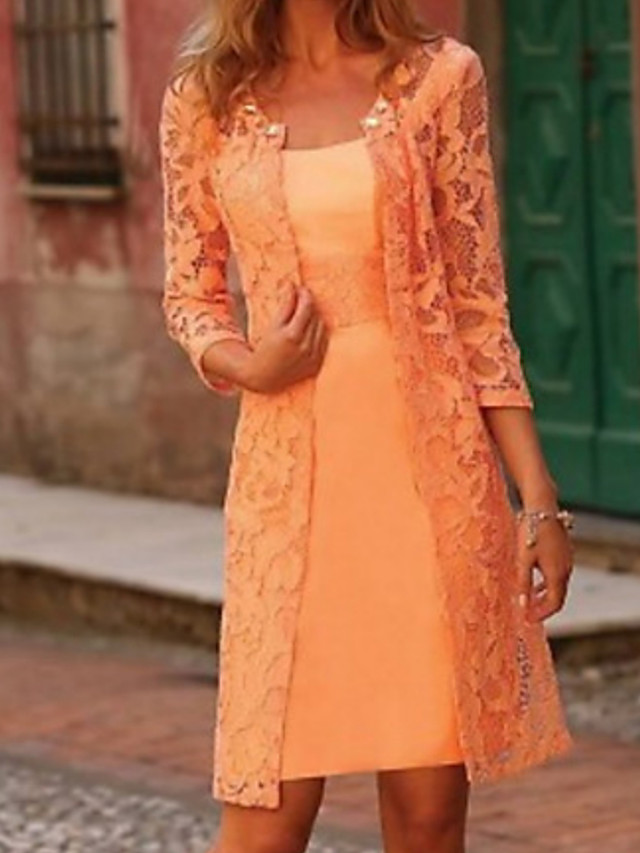 Two Piece A-Line Mother of the Bride Dress Wrap Included Jewel Neck Knee Length Lace Polyester 3/4 Length Sleeve with Appliques 2020 Mother of the groom dresses