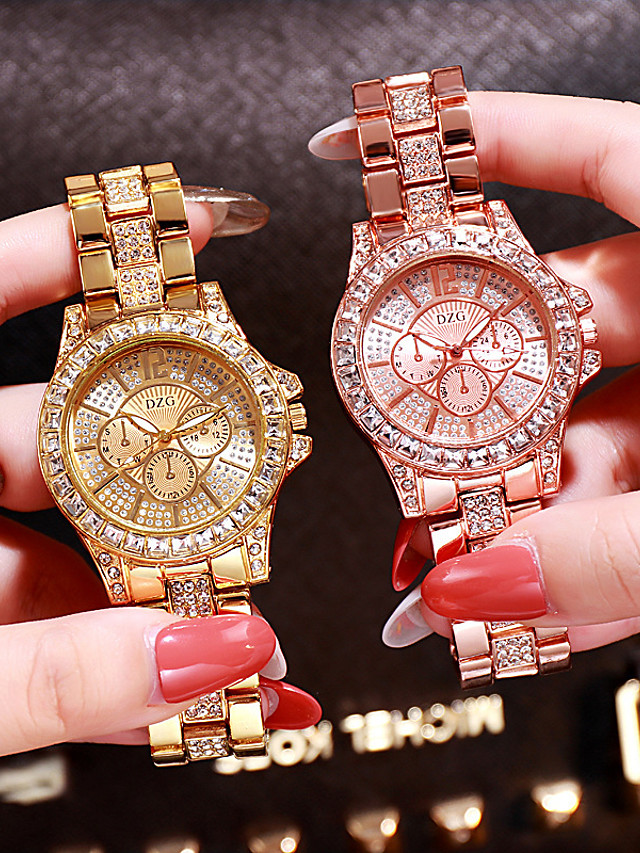 Women's Luxury Watches Diamond Watch Gold Watch Quartz Ladies Analog Rose Gold Gold Silver / Stainless Steel / Stainless Steel / Japanese / Japanese
