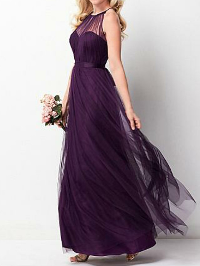 A-Line Halter Neck Floor Length Chiffon Bridesmaid Dress with