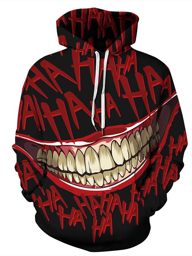 Erkek Büyük Bedenler Halloween Kapüşonlu Giyecek Desen 3D Karton Kapşonlu Günlük Temel Hoodies Tişörtü Siyah