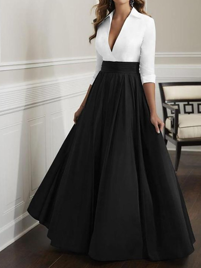 A-Line Mother of the Bride Dress Elegant & Luxurious Plunging Neck Floor Length Satin Half Sleeve with Ruching 2020