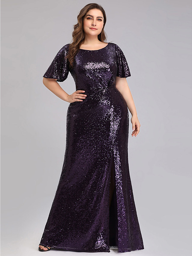 Sheath / Column Plus Size Blue Prom Formal Evening Dress Jewel Neck Half Sleeve Floor Length Sequined with Sequin Split 2020